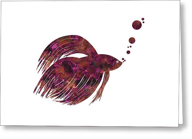 Colorful Betta Fish Silhouette Greeting Card by Shara Lee
