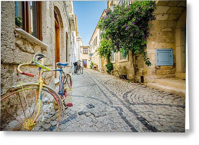 Old Street Greeting Cards - Colorful Bike in an Alacati Street Greeting Card by Anthony Doudt