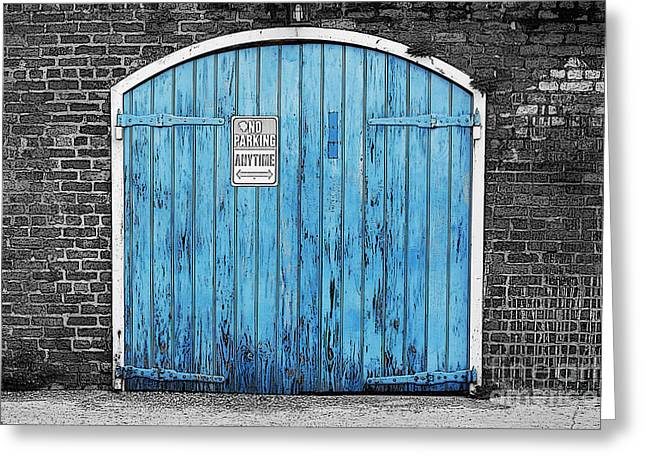Colorful Blue Garage Door French Quarter New Orleans Color Splash Black And White And Poster Edges Greeting Card by Shawn O'Brien