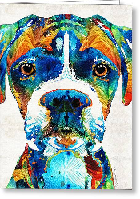 Dog Portraits Greeting Cards - Colorful Boxer Dog Art By Sharon Cummings  Greeting Card by Sharon Cummings