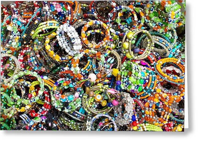 Evil Eyes Greeting Cards - Colorful bracelets Greeting Card by Tom Gowanlock