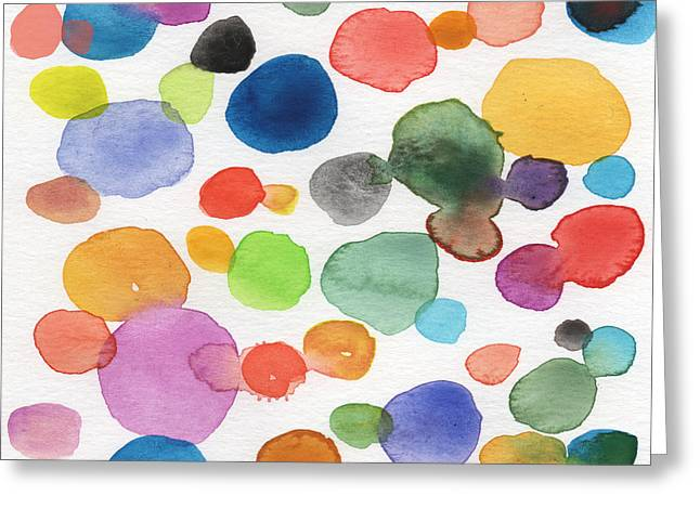Colorful Bubbles Greeting Card by Linda Woods