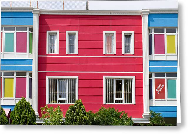 Colorful Building Greeting Card by Tom Gowanlock