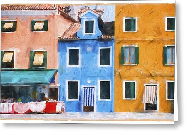 Store Fronts Greeting Cards - Colorful Burano Venice Greeting Card by Daphne Sampson