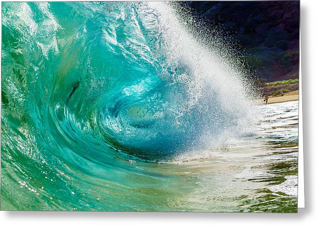 Best Ocean Photography Greeting Cards - Sandys Colorful C Shaped Wave Greeting Card by Chris and Wally Rivera