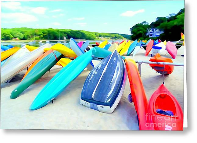 Sand Art Greeting Cards - Colorful Canoes Greeting Card by Ed Weidman