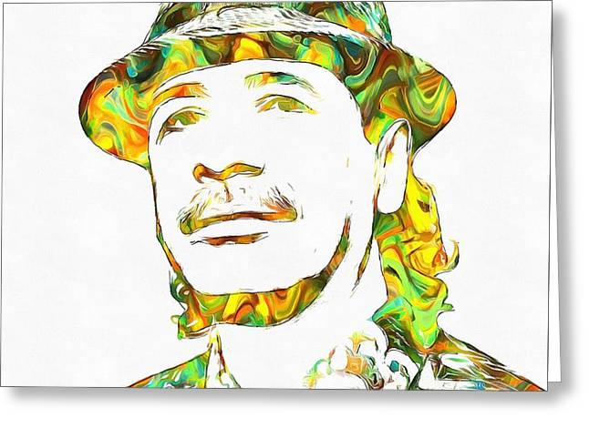Colorful Photography Mixed Media Greeting Cards - Colorful Carlos Santana Greeting Card by Dan Sproul