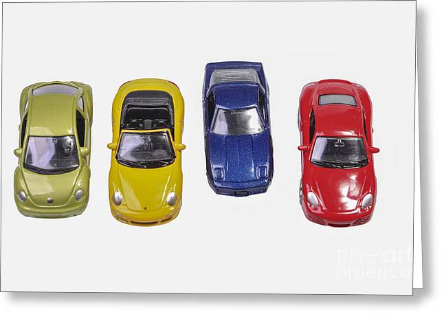 Vehicle Of Life Greeting Cards - Colorful cars Greeting Card by Patricia Hofmeester
