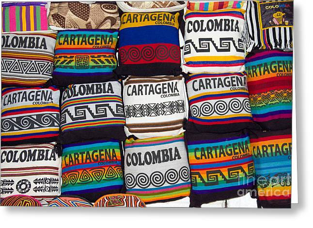 Colorful Cartagena Greeting Card by Bob Hislop