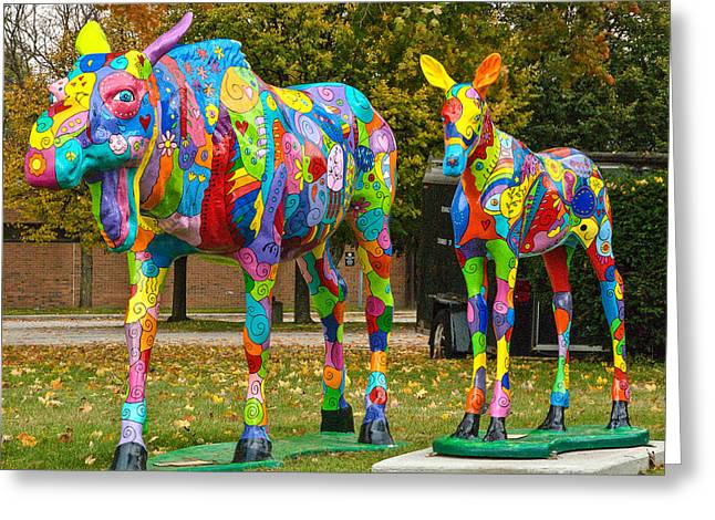 Robert Ford Greeting Cards - Colorful Carved Moose Bennington Vermont Greeting Card by Robert Ford