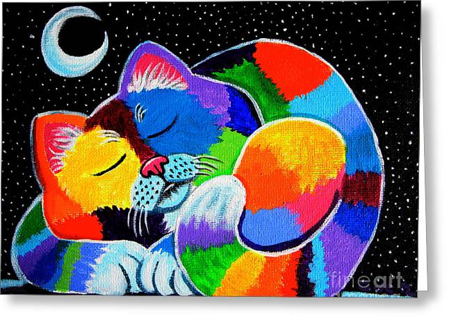 Whimsical Art Greeting Cards - Colorful Cat in the Moonlight Greeting Card by Nick Gustafson