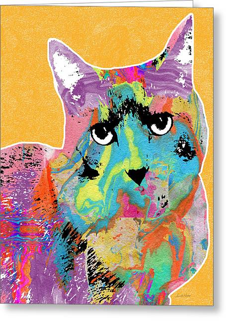 Colorful Cat With An Attitude- Art By Linda Woods Greeting Card by Linda Woods