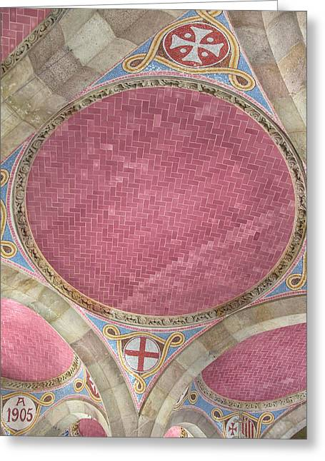 Pau Spanish Greeting Cards - Colorful Ceiling at Hospital de Sant Pau Greeting Card by Dave Mills