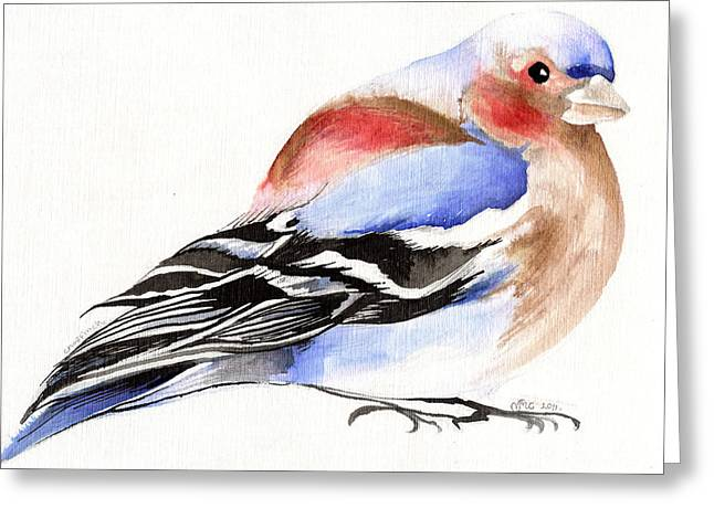 Finch Greeting Cards - Colorful Chaffinch Greeting Card by Nancy Moniz