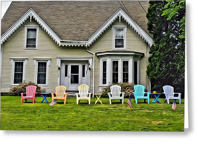 Colorful Chair Cottage Greeting Card by Judy Bernier