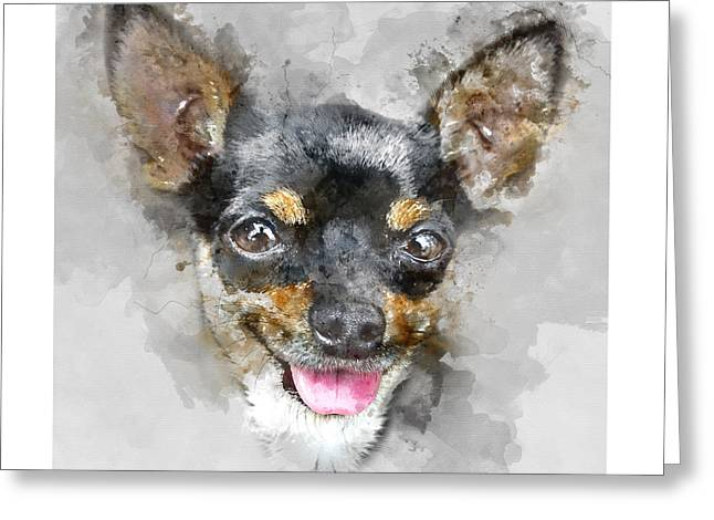 Colorful Chihuahua Dog Portrait - By Diana Van Greeting Card by Diana Van