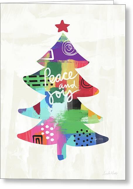 Colorful Christmas Tree- Art By Linda Woods Greeting Card by Linda Woods