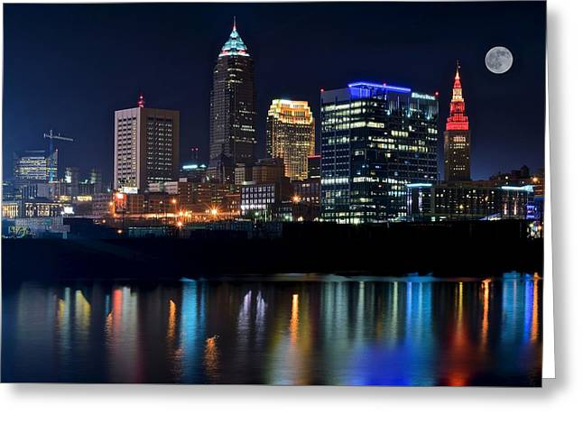Town Square Greeting Cards - Colorful Cleveland Greeting Card by Frozen in Time Fine Art Photography