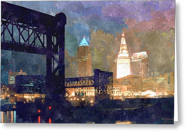 Colorful Cleveland Greeting Card by Kenneth Krolikowski
