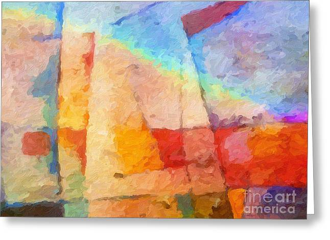 Abstract Seascape Art Greeting Cards - Colorful Coast Greeting Card by Lutz Baar