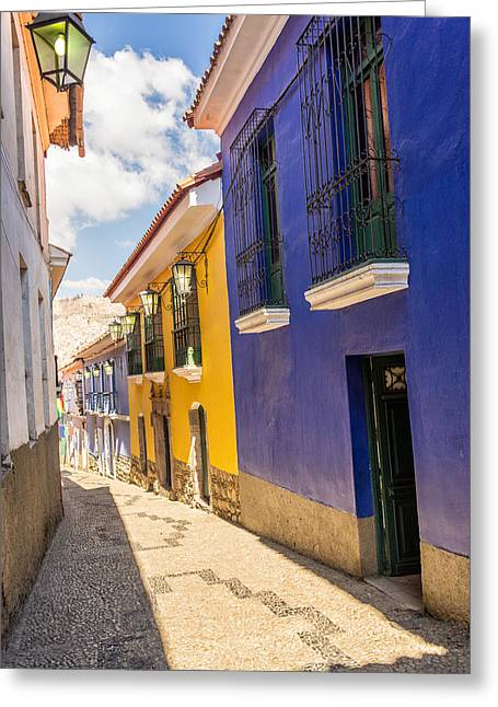 La Paz Greeting Cards - Colorful Colonial Street in La Paz Greeting Card by Jess Kraft
