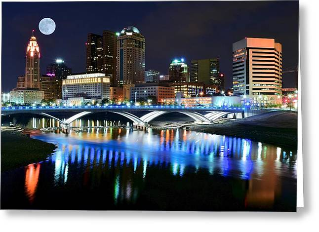 Football National Champions Greeting Cards - Colorful Columbus Greeting Card by Frozen in Time Fine Art Photography