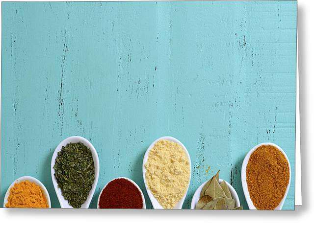 Powder Greeting Cards - Colorful Cooking Spices On Wooden Table Greeting Card by Milleflore Images