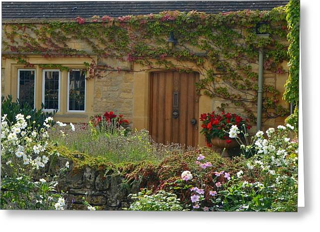 Colorful Cotswold Stone Cottage Greeting Card by Carla Parris