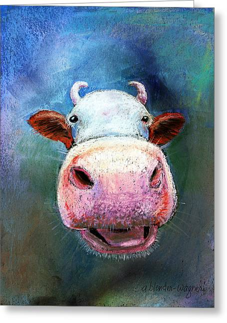 Farm Animals Pastels Greeting Cards - Colorful Cow  Greeting Card by Arline Wagner