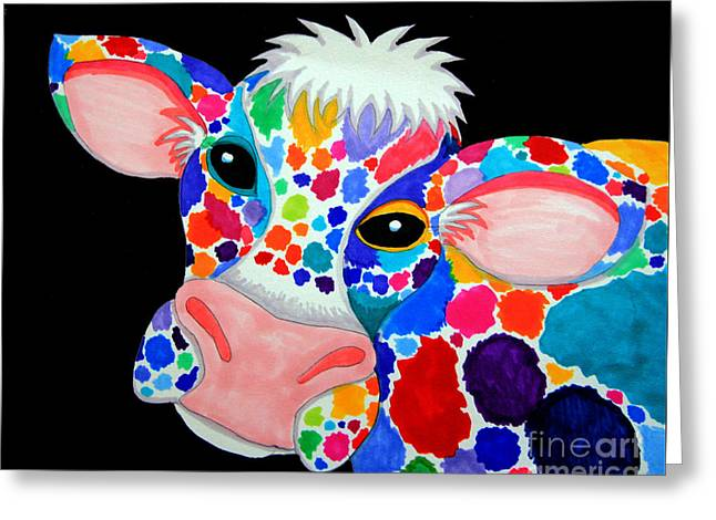 Cow Drawings Greeting Cards - Colorful Cow Greeting Card by Nick Gustafson