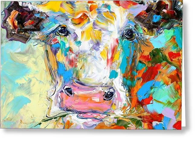Steer Greeting Cards - Colorful Cow Portrait Greeting Card by Karen Tarlton