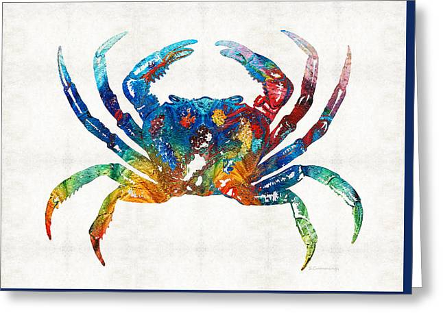 Cajun Greeting Cards - Colorful Crab Art by Sharon Cummings Greeting Card by Sharon Cummings