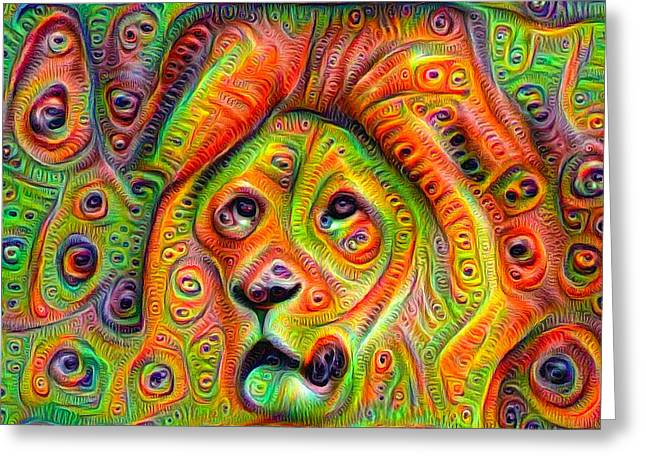 Lions Greeting Cards - Colorful crazy lion deep dream Greeting Card by Matthias Hauser
