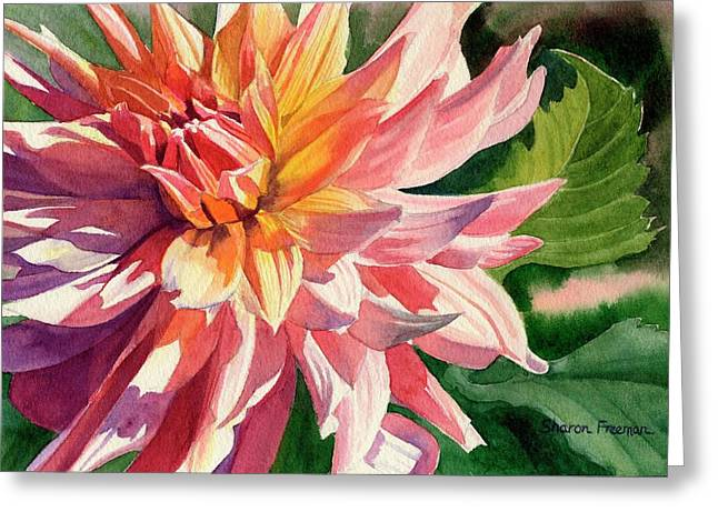 Realistic Watercolor Greeting Cards - Colorful Dahlia Greeting Card by Sharon Freeman