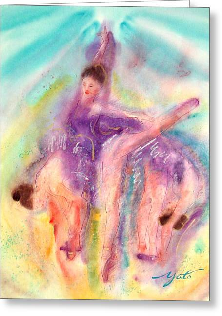 Ballet Dancers Greeting Cards - Colorful Dance Greeting Card by John YATO