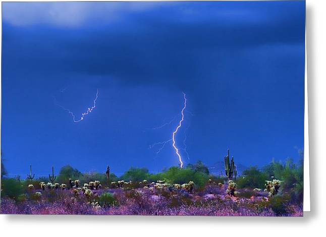 Images Lightning Greeting Cards - Colorful Desert Storm Greeting Card by James BO  Insogna