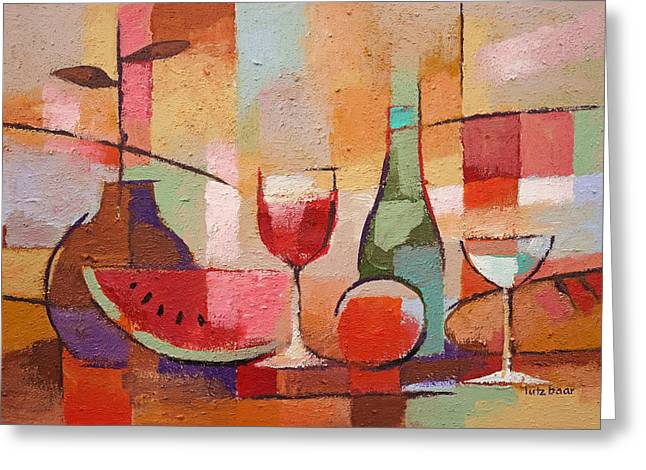 Melon Paintings Greeting Cards - Colorful Dining Greeting Card by Lutz Baar
