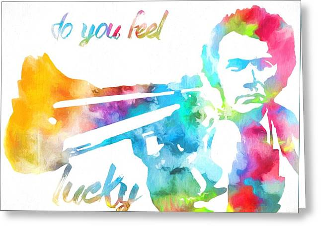 Colorful Dirty Harry Greeting Card by Dan Sproul
