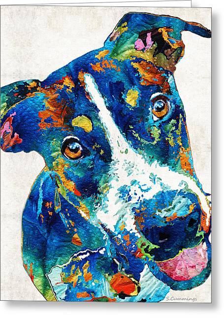 Veterinarian Greeting Cards - Colorful Dog Art - Happy Go Lucky - By Sharon Cummings Greeting Card by Sharon Cummings