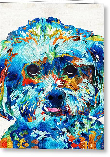 Dog Art Prints Greeting Cards - Colorful Dog Art - Lhasa Love - By Sharon Cummings Greeting Card by Sharon Cummings