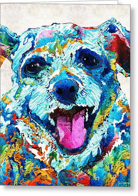 Small Dogs Greeting Cards - Colorful Dog Art - Smile - By Sharon Cummings Greeting Card by Sharon Cummings