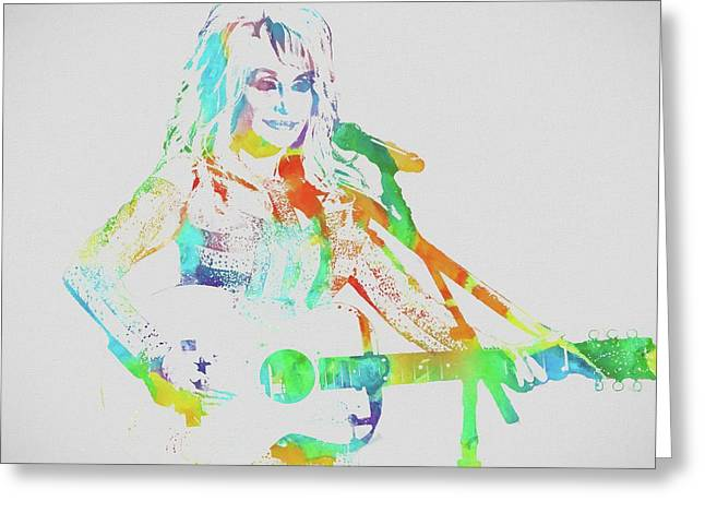 Colorful Dolly Parton Greeting Card by Dan Sproul