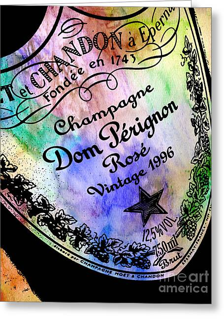 Dom Perignon Greeting Cards - Colorful Dom Perignon Greeting Card by Jon Neidert