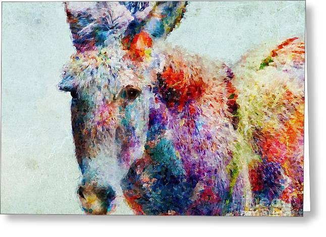 Donkey Mixed Media Greeting Cards - Colorful Donkey Art Greeting Card by Olga Hamilton