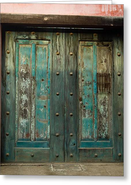 Entryway Greeting Cards - Colorful Doors Antigua Guatemala Greeting Card by Douglas Barnett