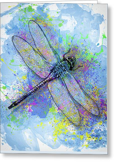 Colorful Dragonfly Greeting Card by Jack Zulli