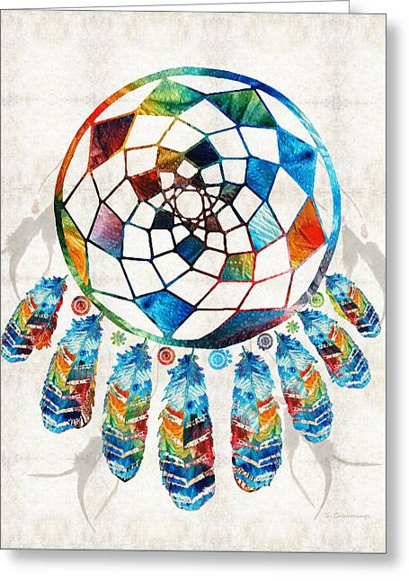 Colorful Dream Catcher By Sharon Cummings Greeting Card by Sharon Cummings