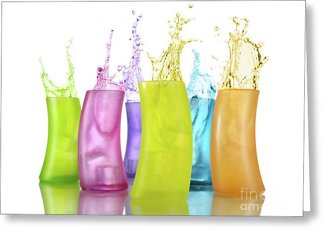 Party Food Greeting Cards - Colorful Drink Splashing from Glasses Greeting Card by Oleksiy Maksymenko