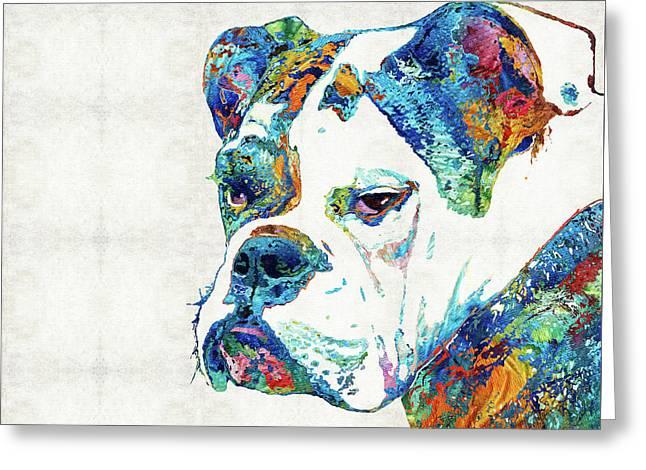 Colorful English Bulldog Art By Sharon Cummings Greeting Card by Sharon Cummings