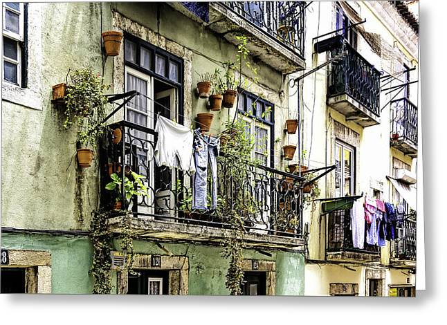 Hanging Laundry Greeting Cards - Colorful Everyday Life in Lisbon Greeting Card by Marion McCristall